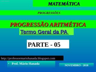 Apresentação 5- PA - novembro 2010.pps